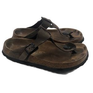 Birkenstock Betula Brown Leather Thong Sandals